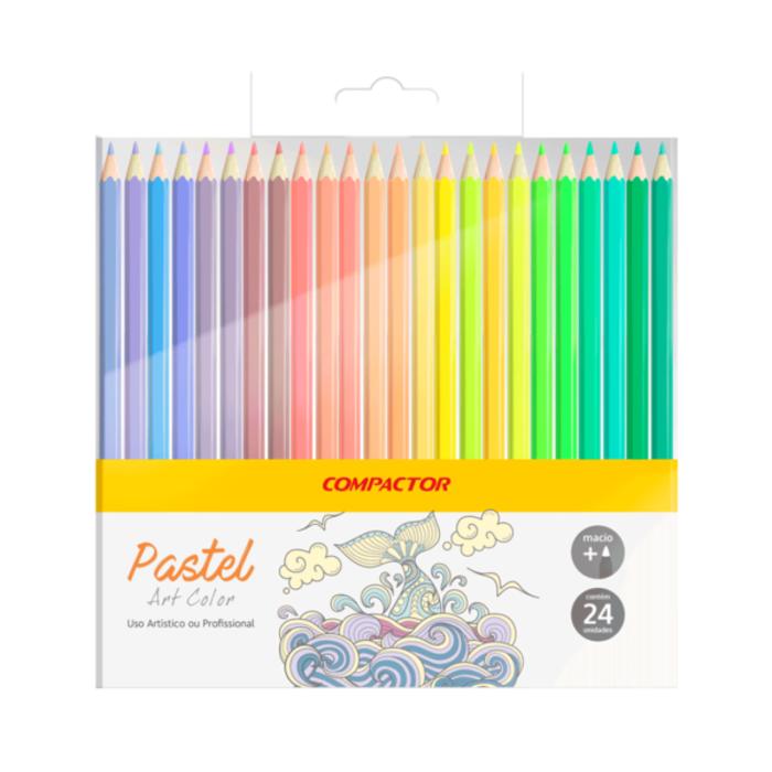 Lápis de Cor com 24 Cores Pastel Compactor Art Color