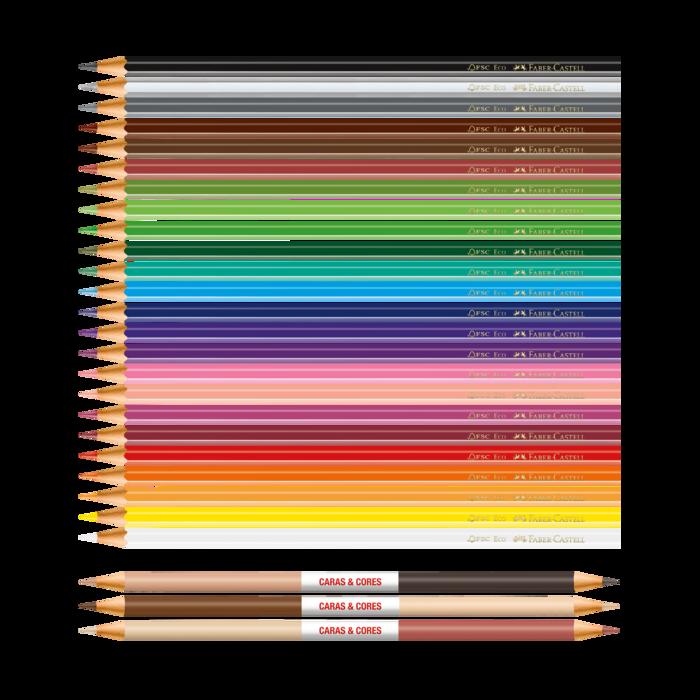 Lápis de Cor com 30 Cores Faber-Castell Caras E Cores