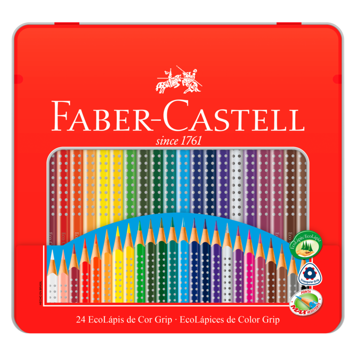 Lápis de Cor Faber-Castell 24 Cores com Estojo de Lata
