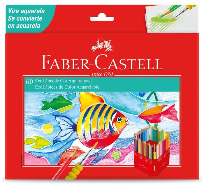Lápis de Cor Faber-Castell 60 Cores Aquarela