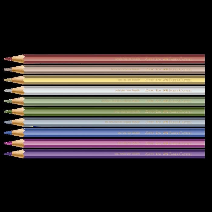 Lápis de Cor Faber-Castell Com 10 Cores Metálicas