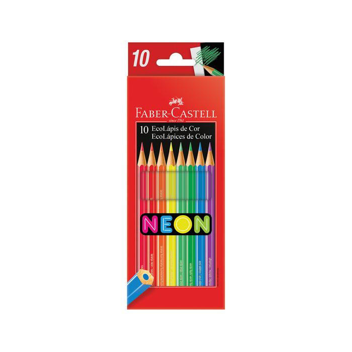 Lápis de Cor Faber-Castell Com 10 Cores Neon