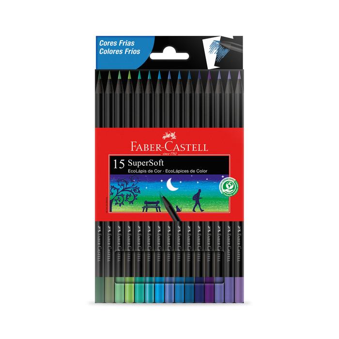 Lápis de Cor Faber-Castell Supersoft  com 15 Cores Frias