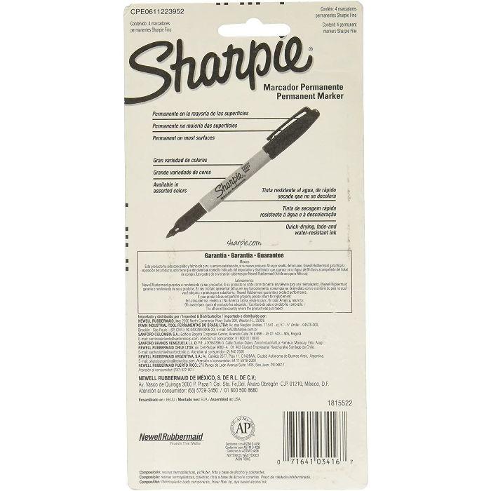 Marcador Permanente Com 4 Cores Sharpie Ponta Fina 1789441