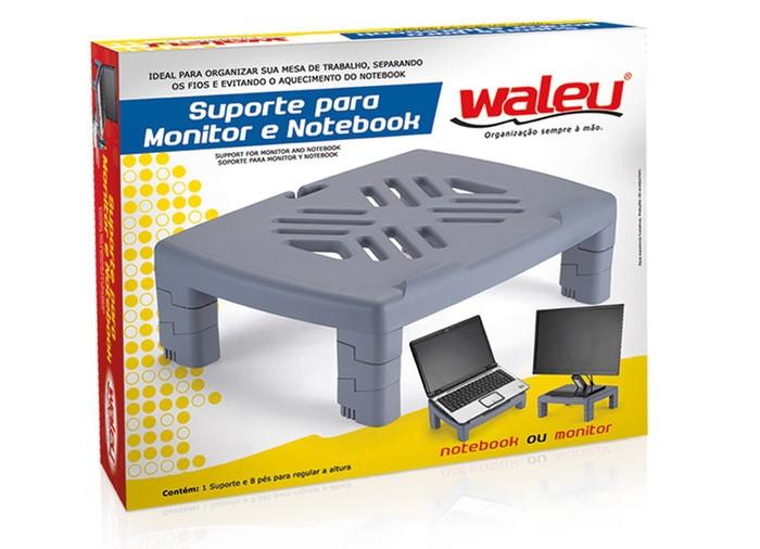 Suporte para Monitor e Notebook com Base Ajustável Waleu Preto