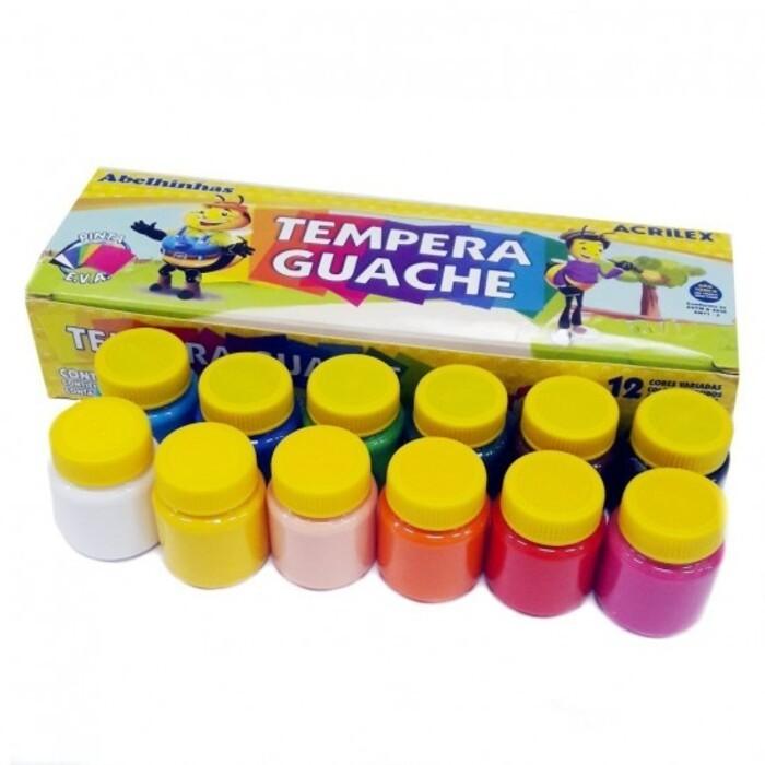 Tinta Tempera Guache com 12 Cores de 15ml Acrilex 02012