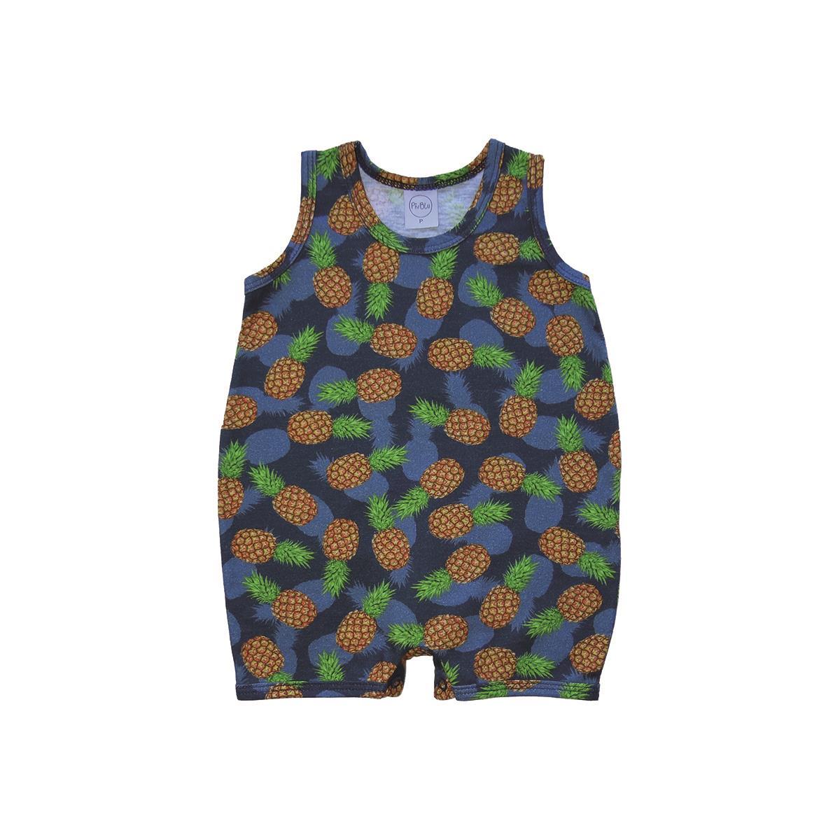 Macacão Bebê M Malha Abacaxis  - Piu Blu