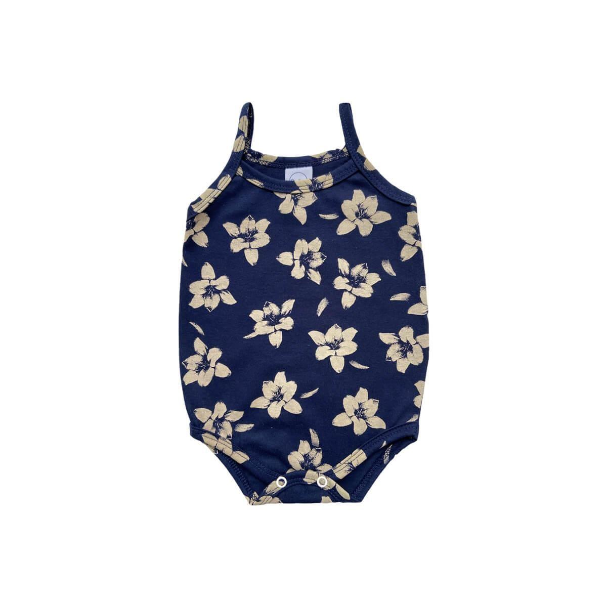 Body Alcinha Floral Marinho  - Piu Blu