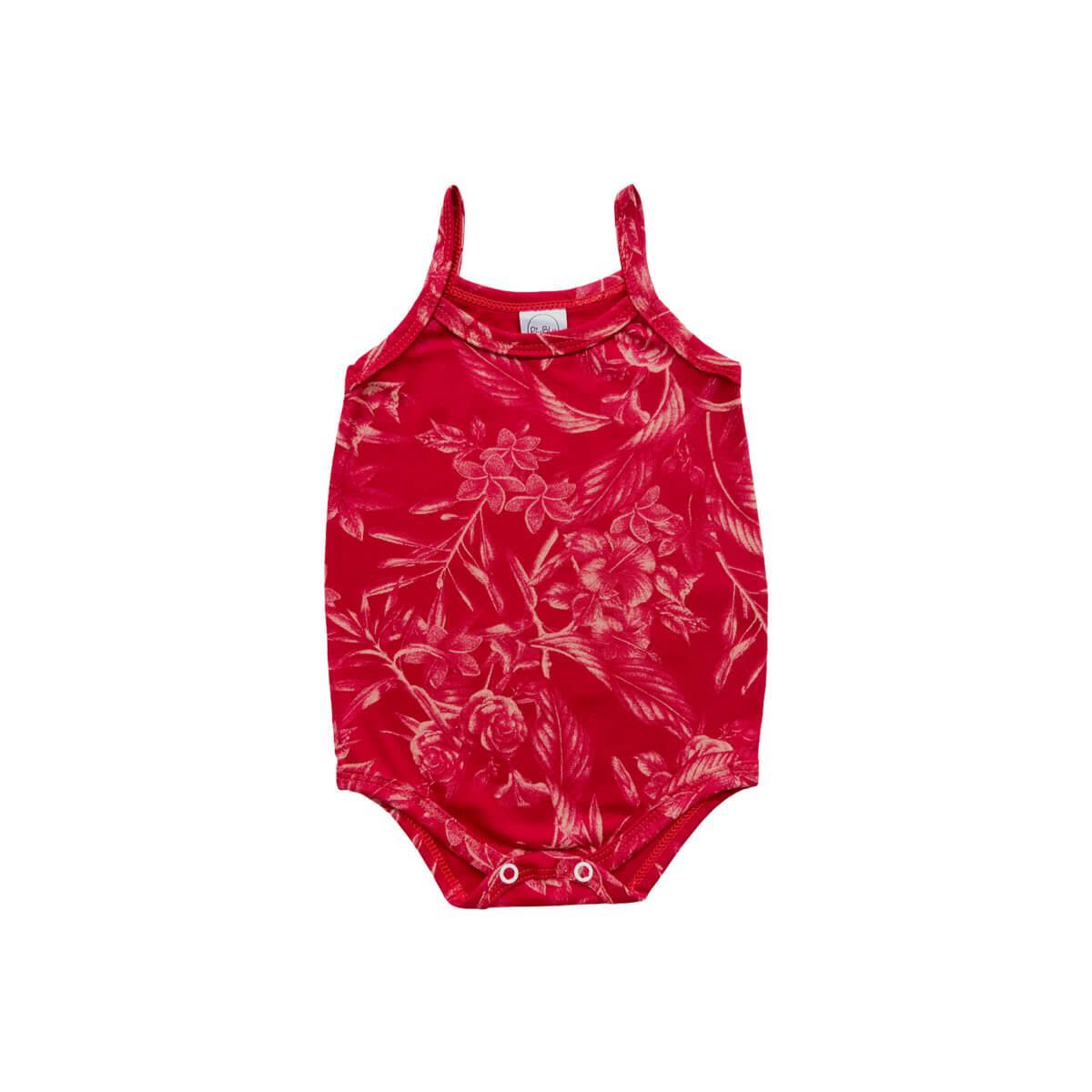 Body Alcinha Floral Vermelho