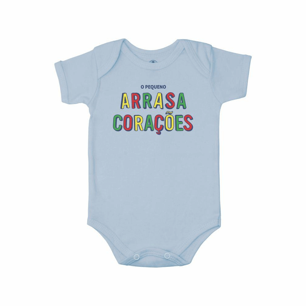 Body Bebê Frase Manga Curta Arrasa Corações  - Piu Blu