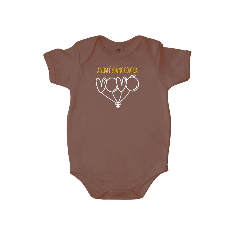 Body Bebê Frase Manga Curta Colo da Vovó
