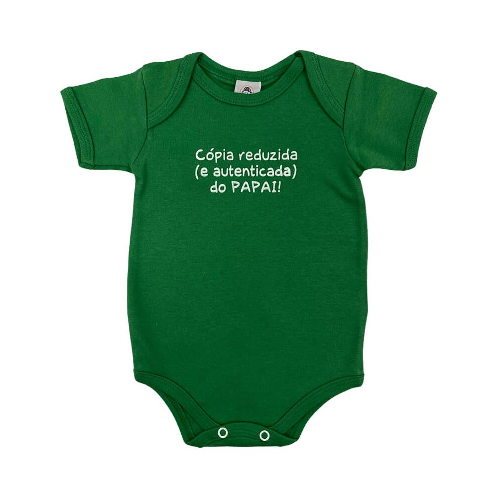 Body Bebê Frase Manga Curta Cópia Autenticada Papai  - Piu Blu