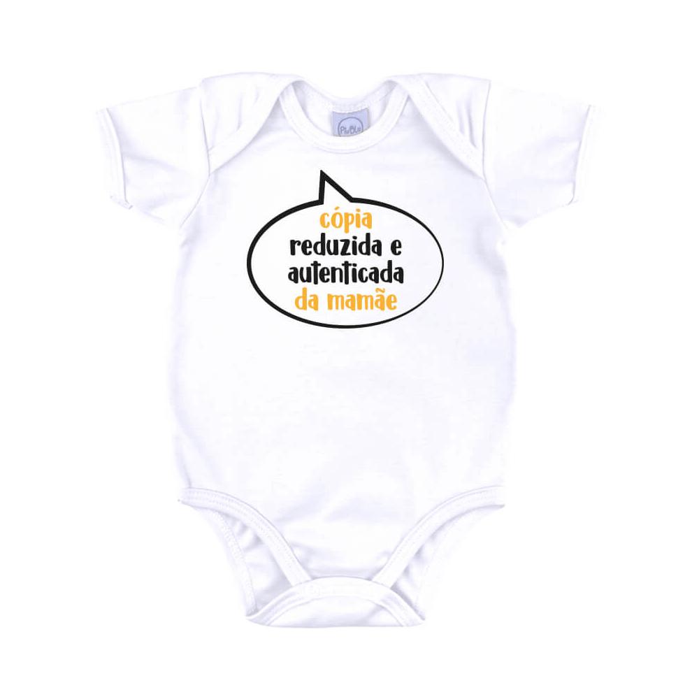 Body Bebê Frase Manga Curta Cópia da Mamãe  - Piu Blu