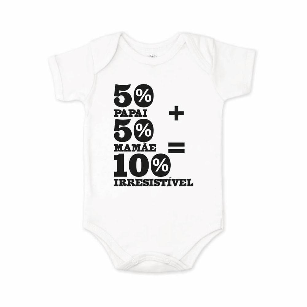 Body Bebê Frase Manga Curta Irresistível Branco  - Piu Blu