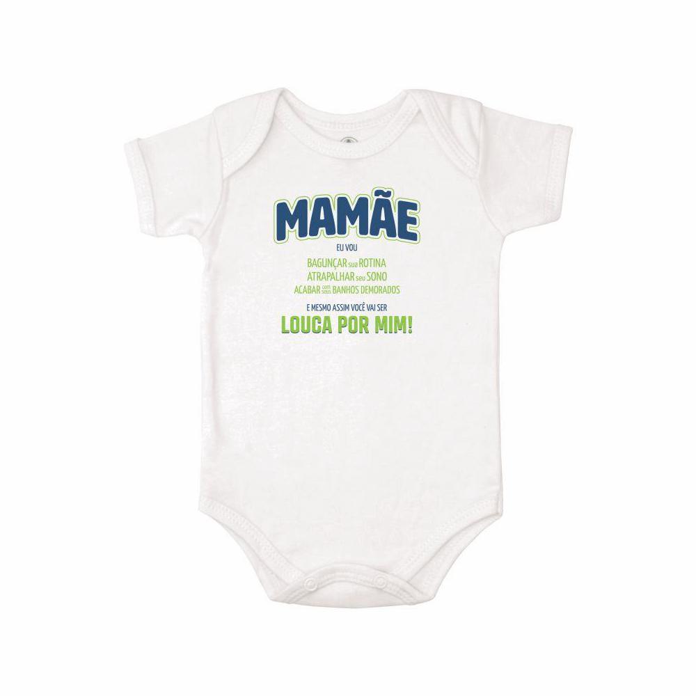 Body Bebê Frase Manga Curta Louca por Mim  - Piu Blu