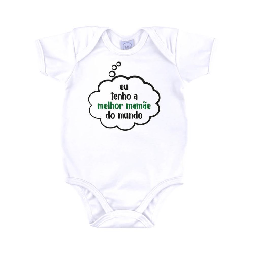 Body Bebê Frase Manga Curta Melhor Mamãe  - Piu Blu