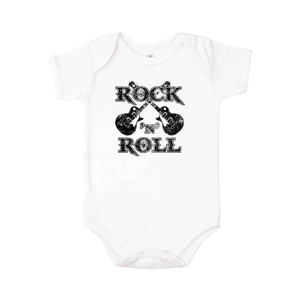 Body Bebê Frase Manga Curta Rock n Roll  - Piu Blu