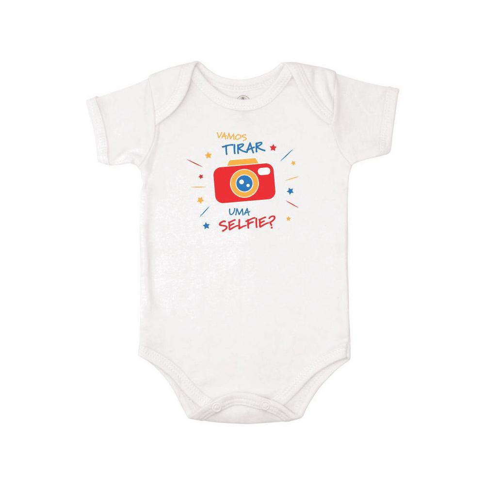 Body Bebê Frase Manga Curta Selfie  - Piu Blu