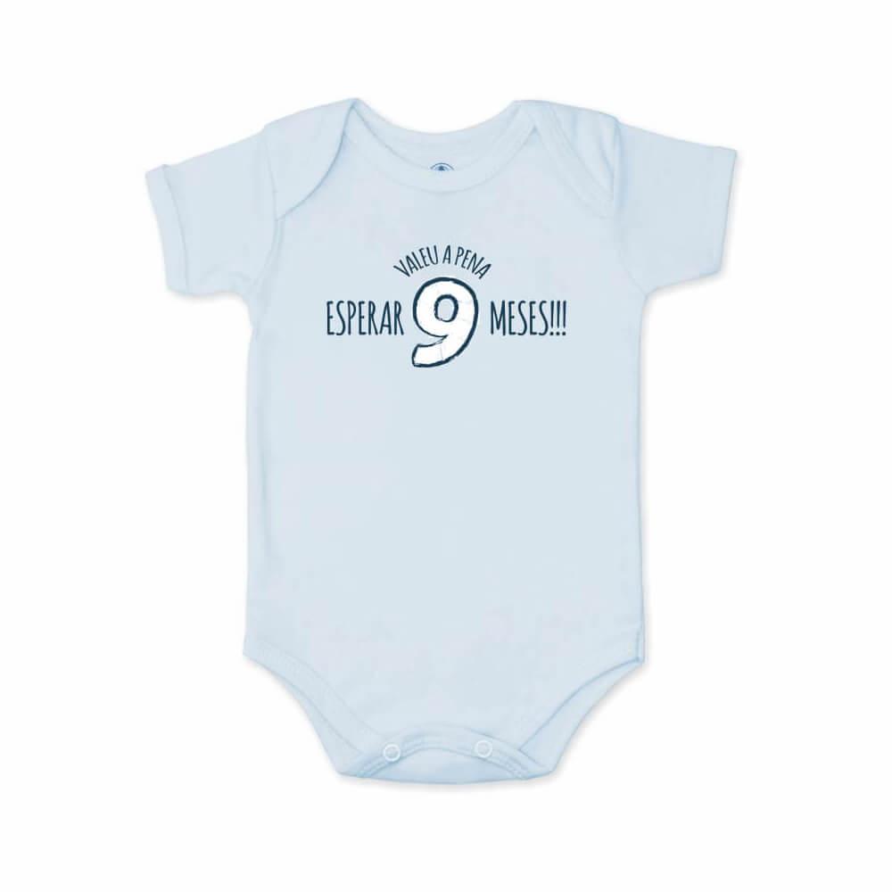 Body Bebê Frase Manga Curta Valeu a Pena Azul Bebê