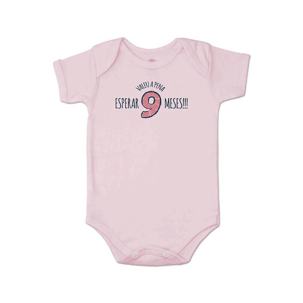 Body Bebê Frase Manga Curta Valeu a Pena Rosa  - Piu Blu