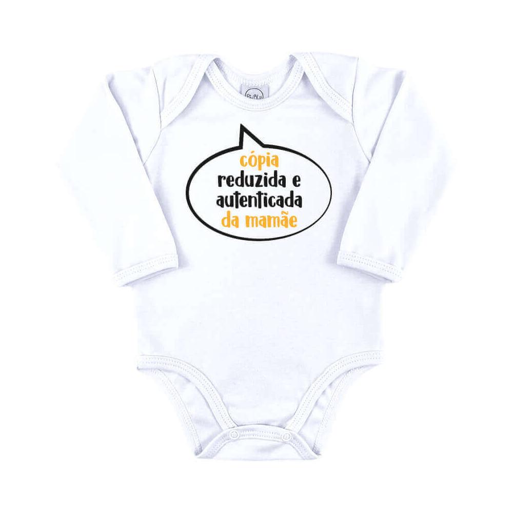 Body Bebê Frase Manga Longa Cópia da Mamãe  - Piu Blu