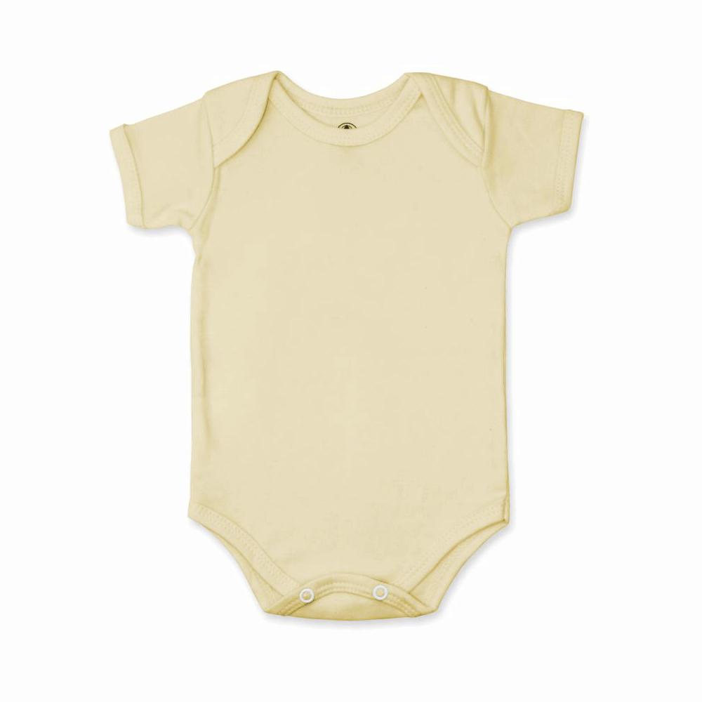 Body Bebê Manga Curta Básico Amarelo
