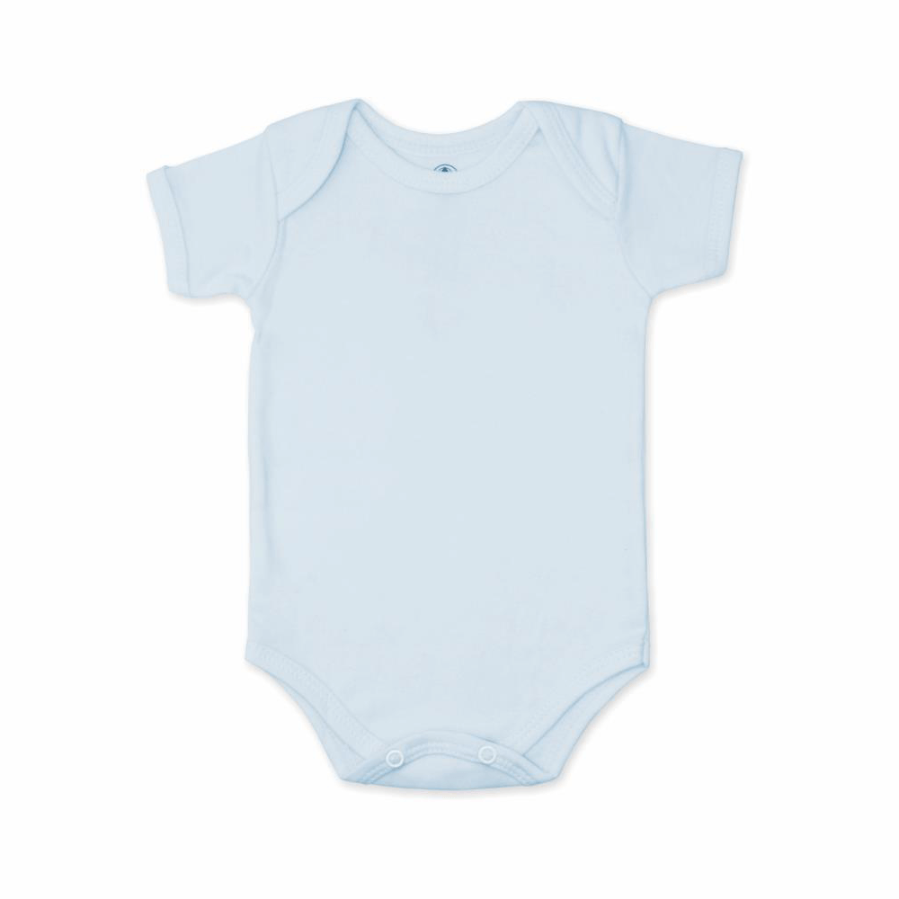 Body Bebê Manga Curta Básico Azul Claro