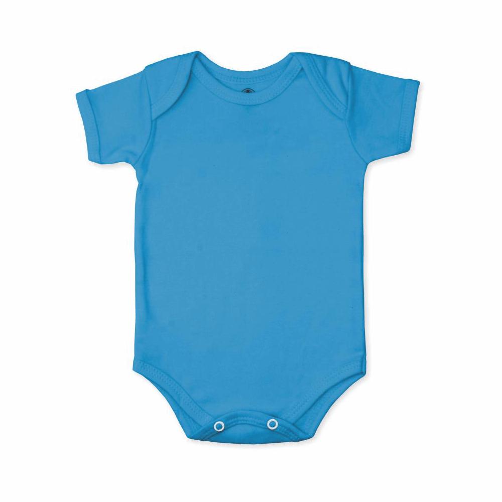 Body Bebê Manga Curta Básico Azul Cobalto  - Piu Blu