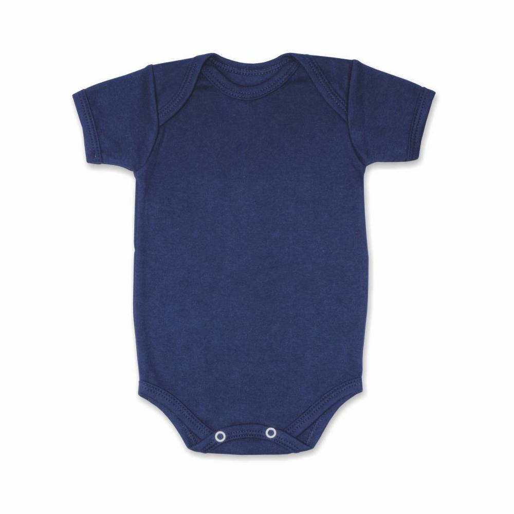 Body Bebê Manga Curta Básico Azul Marinho  - Piu Blu