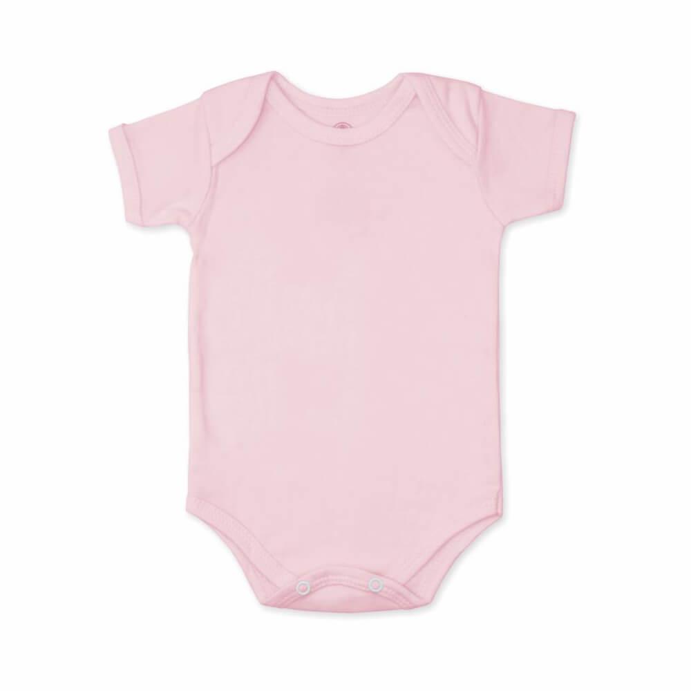 Body Bebê Manga Curta Básico Rosa Bebê - 1 ao 3