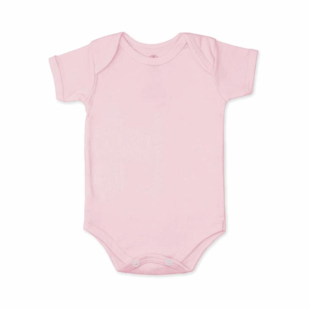 Body Bebê Manga Curta Básico Rosa Bebê