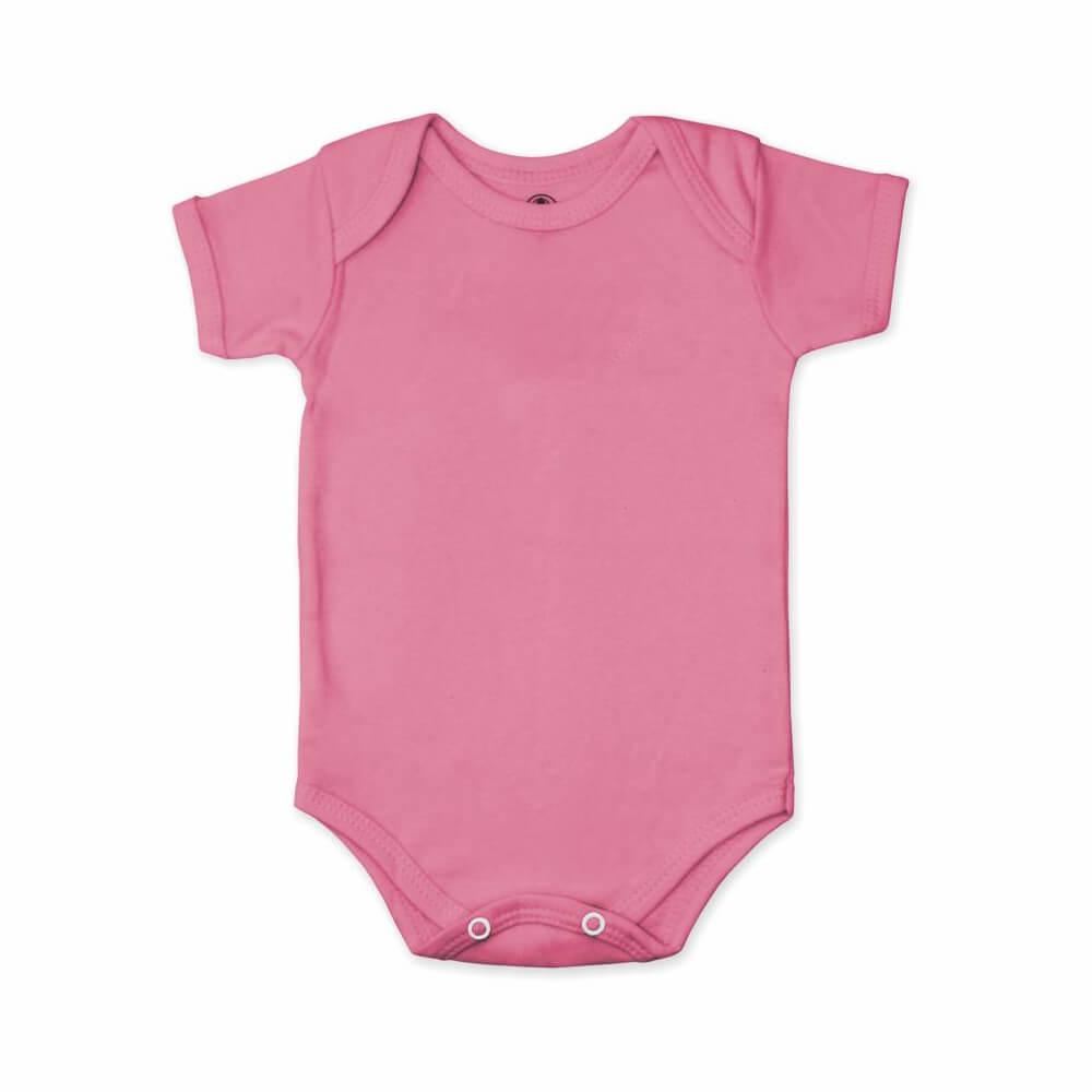 Body Bebê Manga Curta Básico Rosa Chiclete - 1 ao 3  - Piu Blu