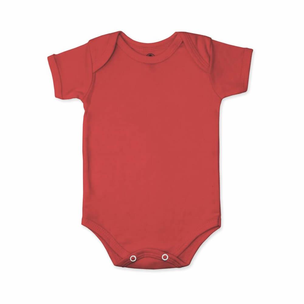 Body Bebê Manga Curta Básico Vermelho - 1 ao 3