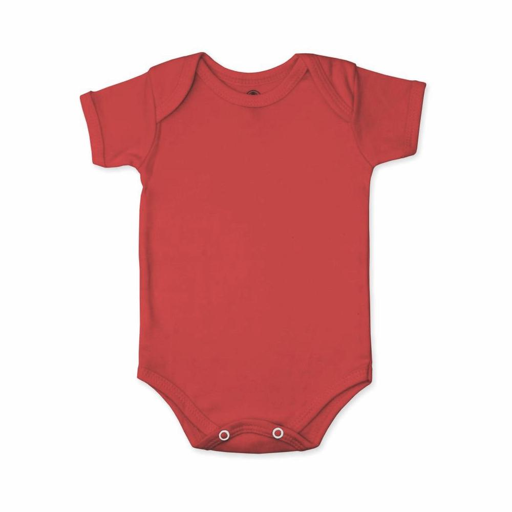 Body Bebê Manga Curta Básico Vermelho