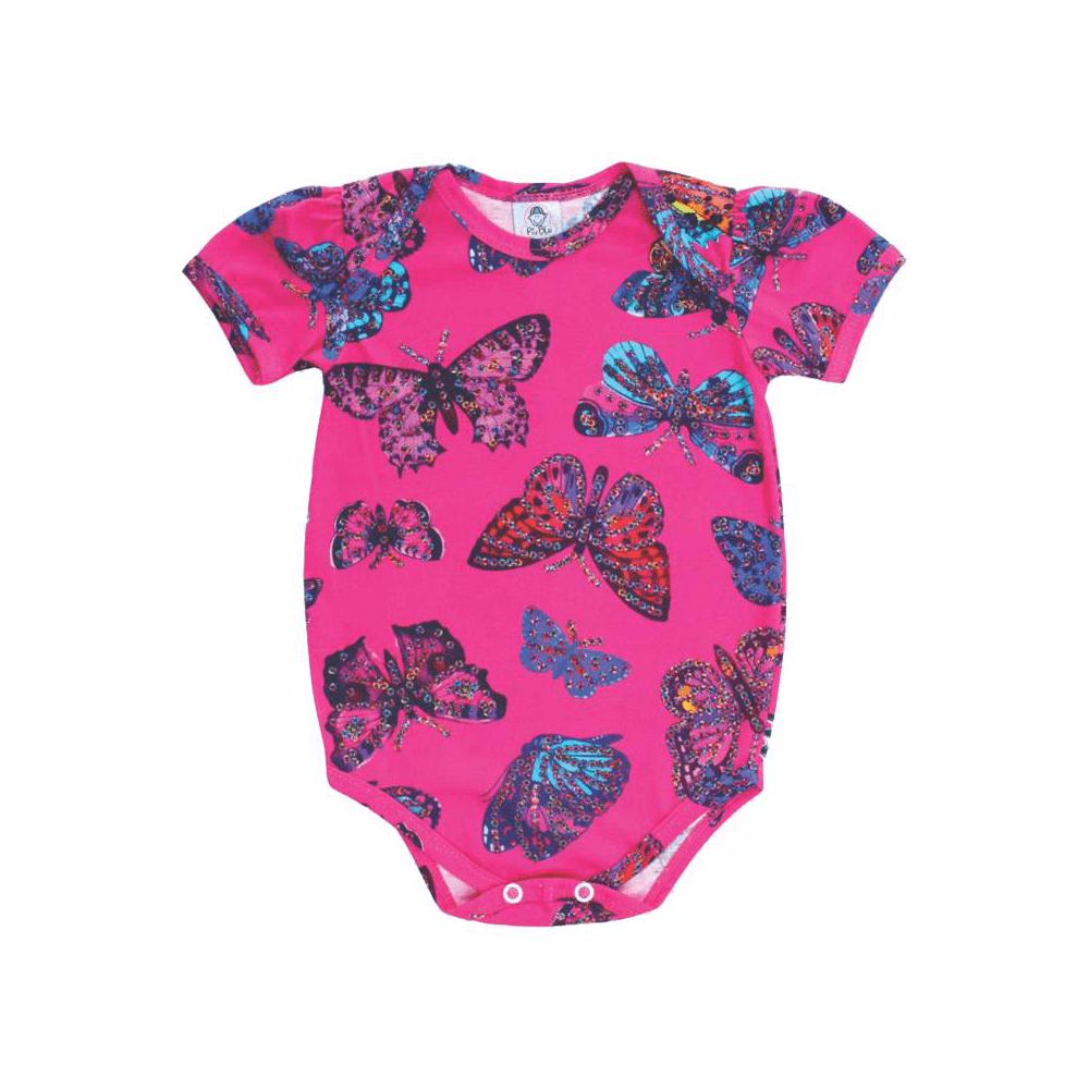 Body Bebê Manga Curta Borboletas Pink  - Piu Blu