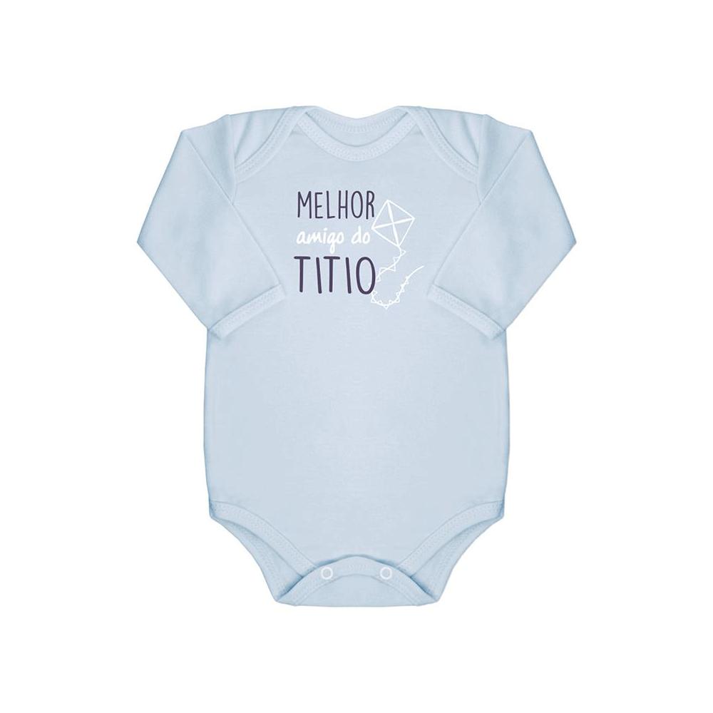 Body Bebê Frase Manga Longa Amigo do Titio