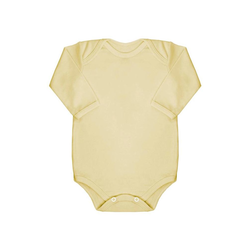 Body Bebê Manga Longa Básico Amarelo  - Piu Blu
