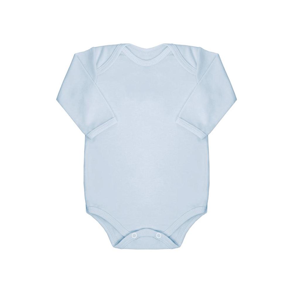Body Bebê Manga Longa Básico Azul Bebê