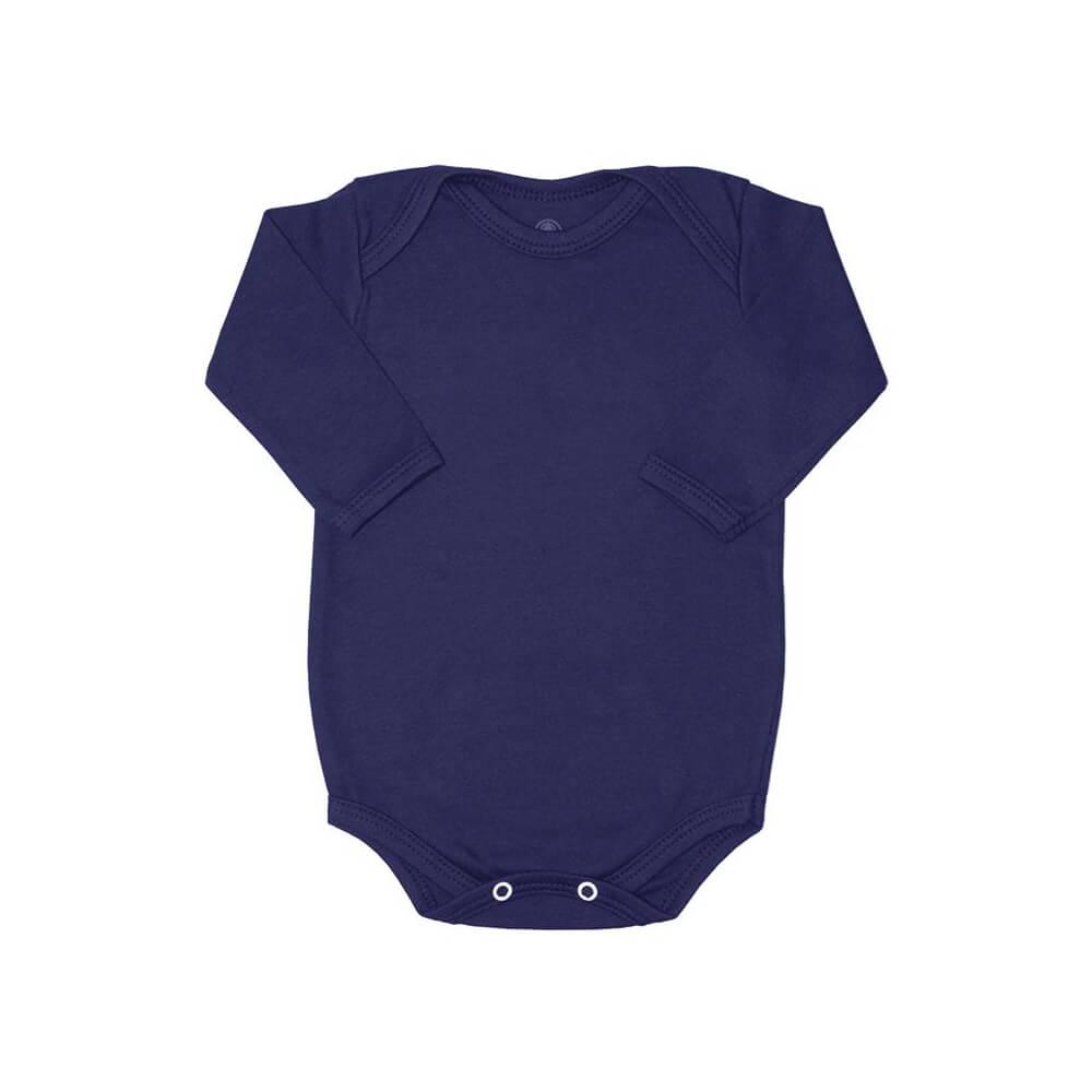 Body Bebê Manga Longa Básico Azul Marinho - 1 ao 3