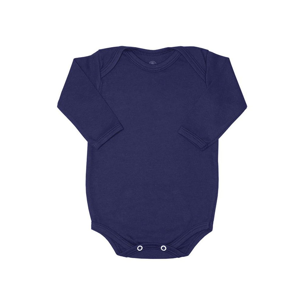 Body Bebê Manga Longa Básico Azul Marinho
