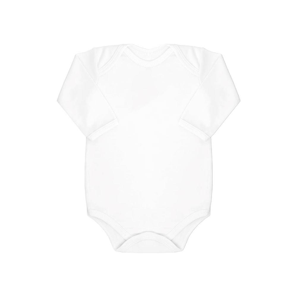 Body Bebê Manga Longa Básico Branco  - Piu Blu