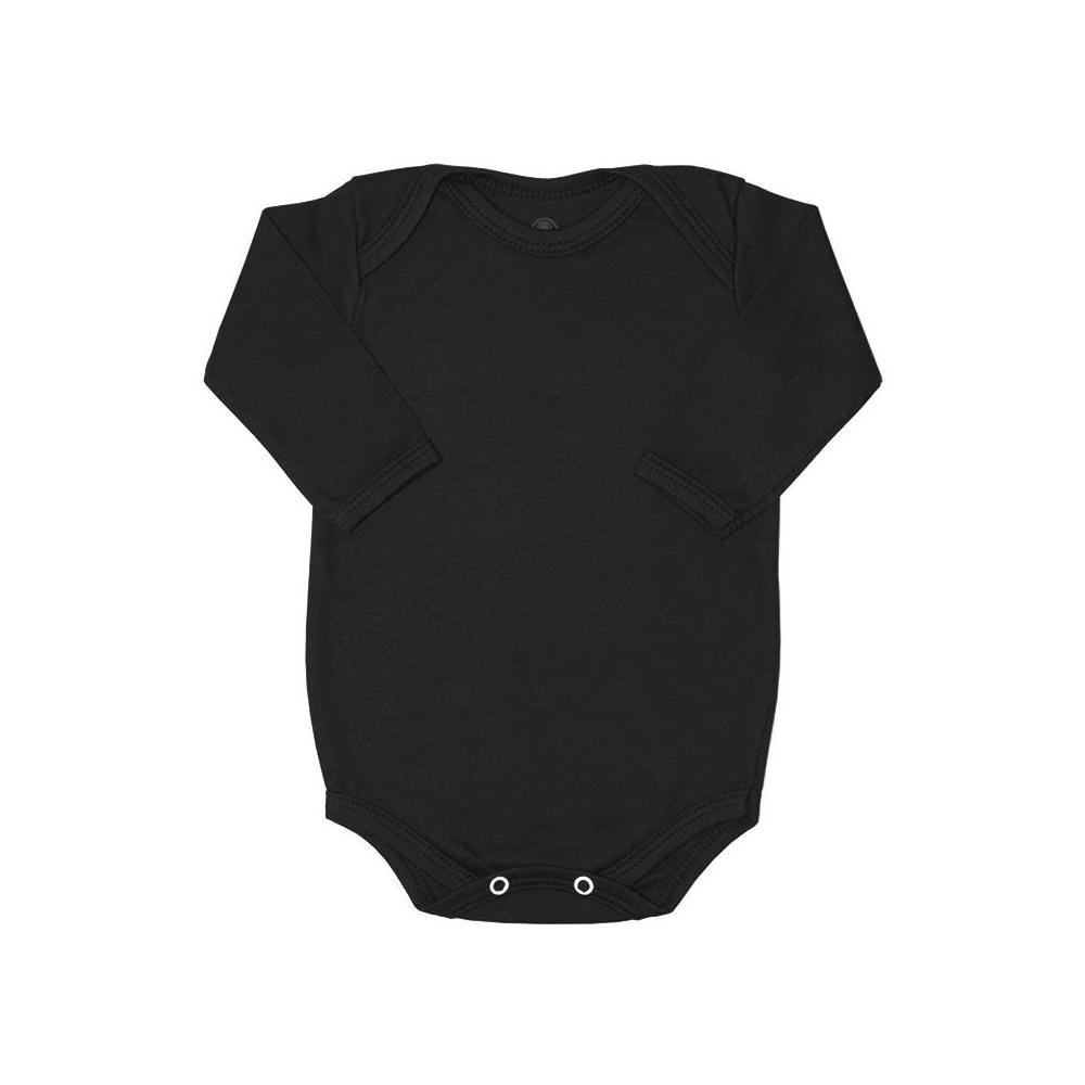 Body Bebê Manga Longa Básico Preto