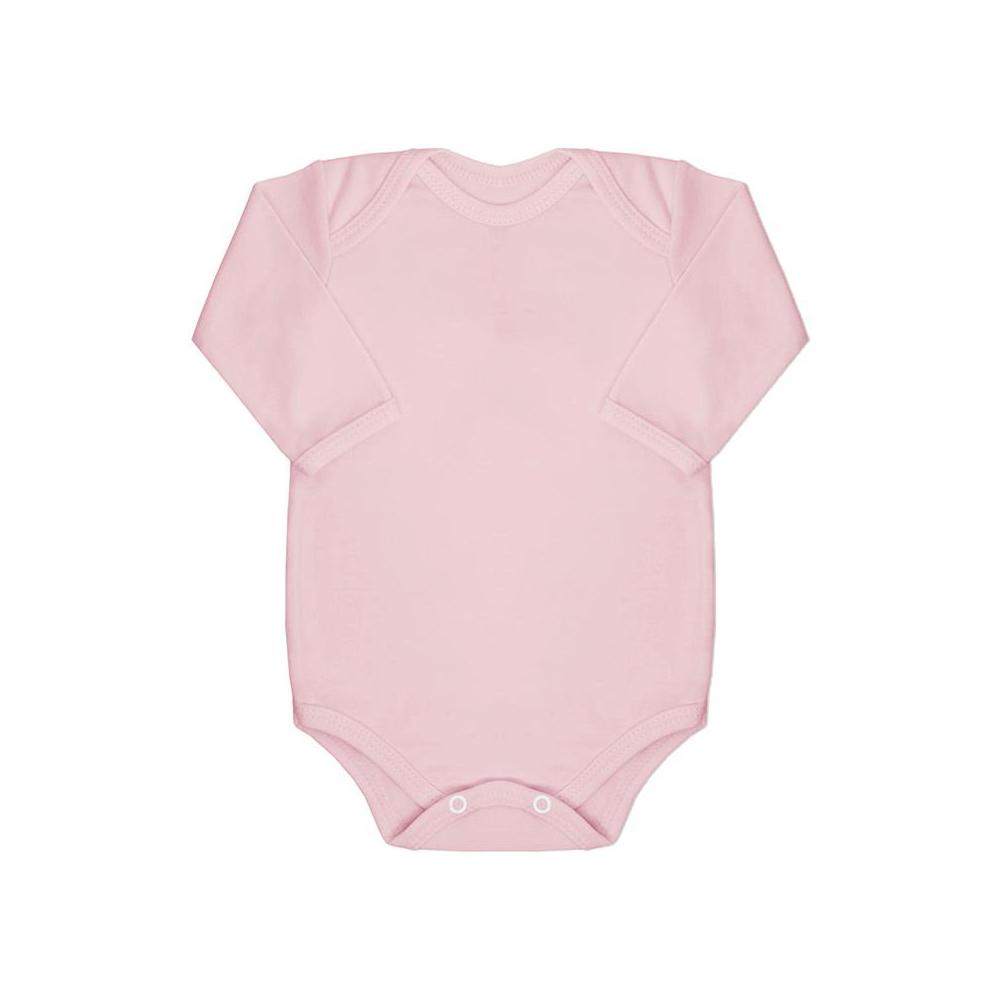 Body Bebê Manga Longa Básico Rosa  - Piu Blu