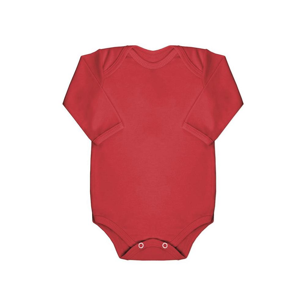 Body Bebê Manga Longa Básico Vermelho