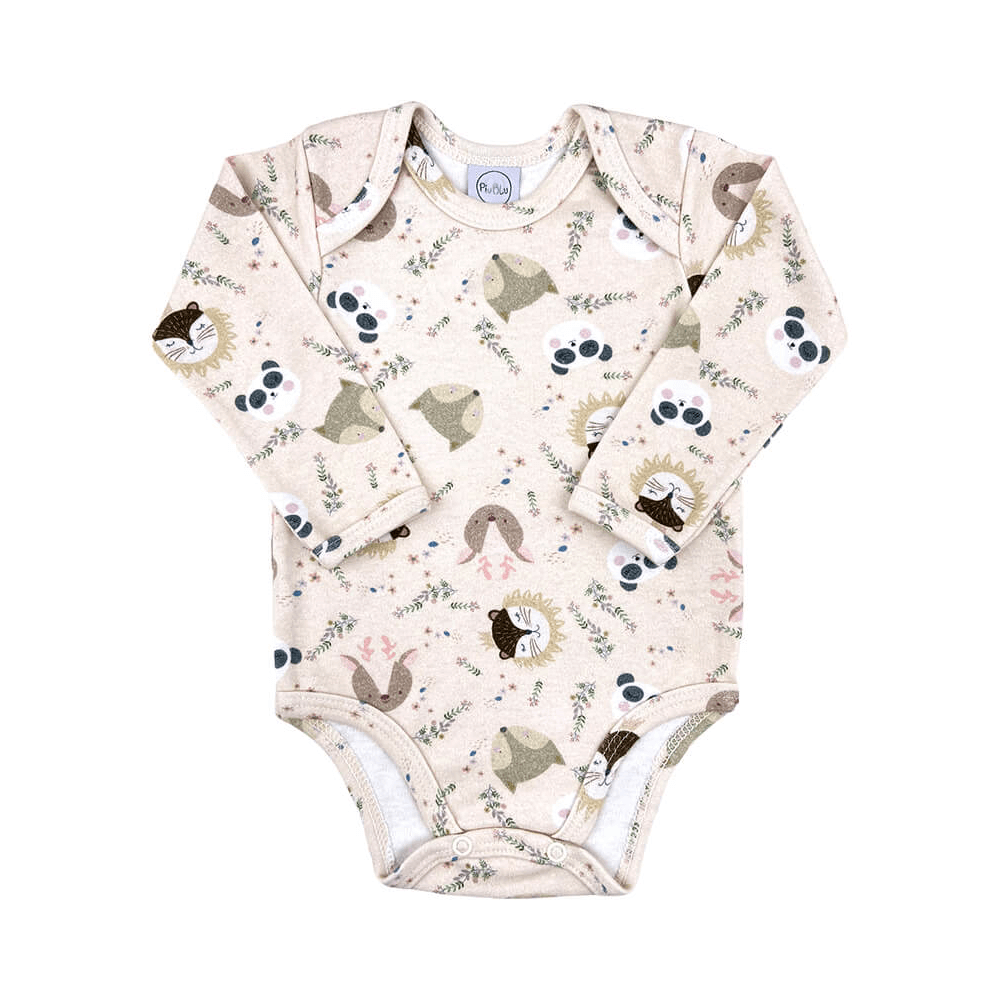 Body Bebê Manga Longa Bichinhos da Floresta  - Piu Blu