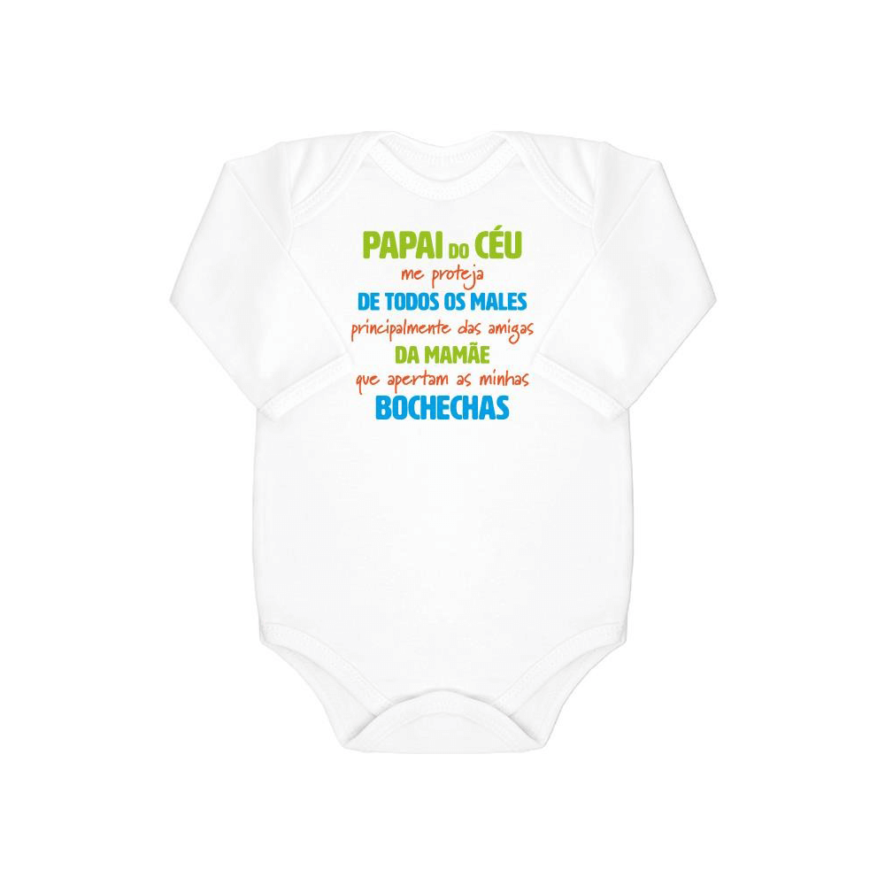 Body Bebê Frase Manga Longa Bochechas