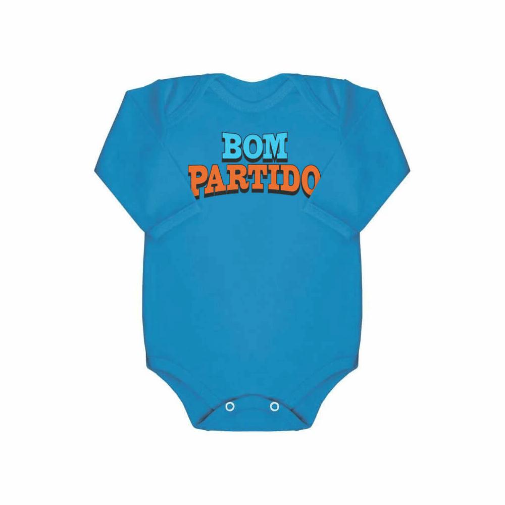 Body Bebê Frase Manga Longa Bom Partido  - Piu Blu