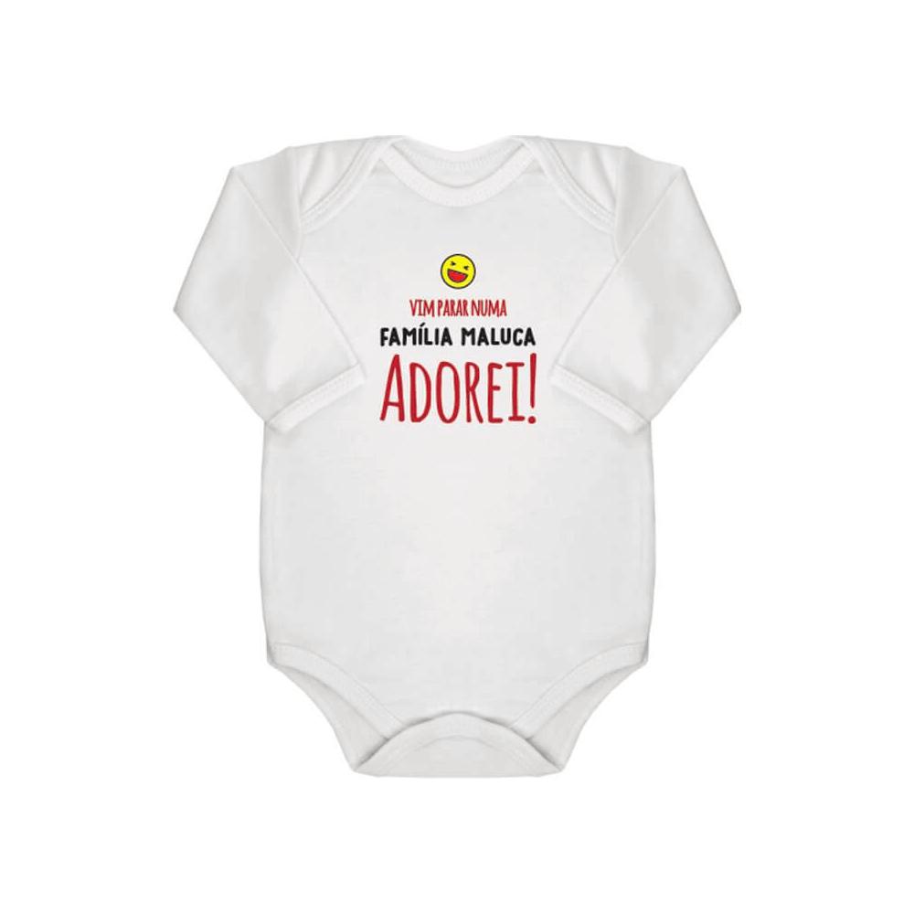 Body Bebê Frase Manga Longa Família Maluca
