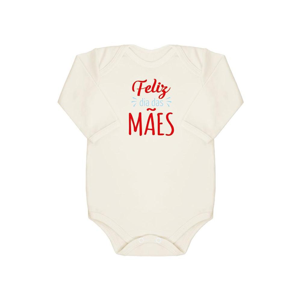 Body Bebê Manga Longa Feliz Dia das Mães