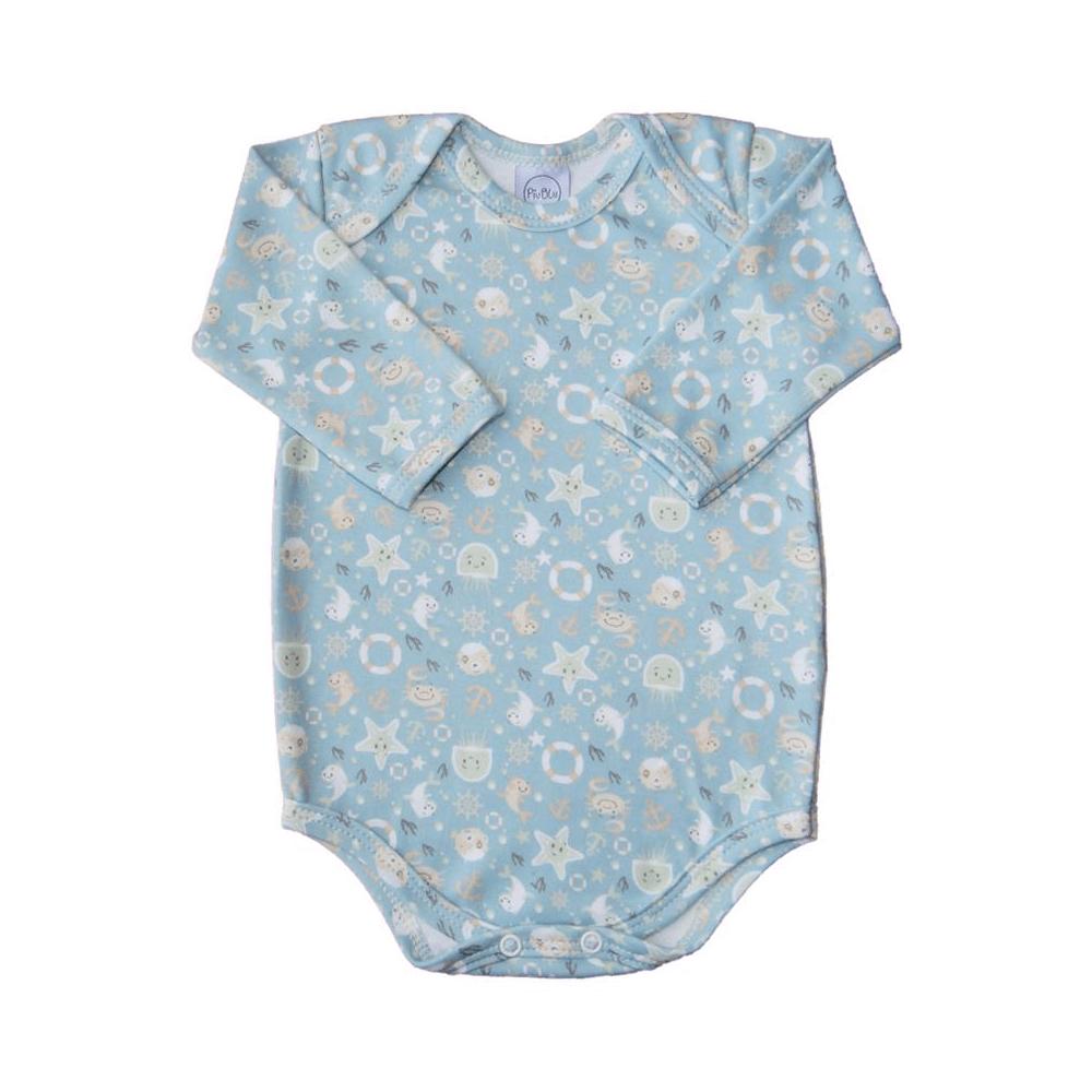Body Bebê Manga Longa Fundo do Mar Azul  - Piu Blu